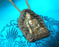 Sehr ALTES tibet. Buddha-Amulett-Anhänger YAK LEDER!