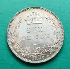 More details for 1889 victoria sixpence coin a/unc (828)