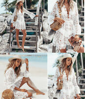 Women's Lace Bathing Suit Cover Up Boho Beach Maxi Bikini Sundress Dress Summer