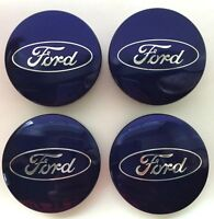 Set Of 4 Blue Ford Alloy Wheel Center Caps  6M21-1003-AA