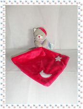 R - Doudou Ours Gris Rose Fuchsia  Mouchoir Phosphorescent Baby Nat