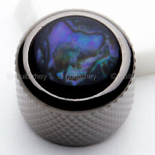 NEW (1) Q-Parts Guitar Knob Black Chrome w/ BLUE ABALONE SHELL on Dome KBD-0001