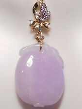 Type A jadeite carved lavender jade pendant, diamonds, solid 14k yellow gold.