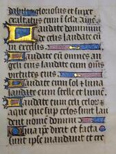 ILLUMINATED MANUSCRIPT LEAF Minature BOOK OF HOURS Calligraphy LATIN c1480 RARE