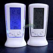 Large LED Digital Desk Alarm Calendar Indoor Thermometer Clock Snooze Backlight