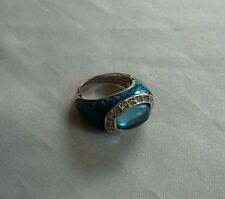 Blue gaudy ring cubic zirconia plastic  size 8 10 grams