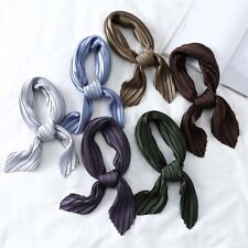 Women Small SILK NECK Scarf  Crinkle  Pleated Scarves Gift