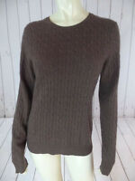 Tweeds Cashmere Sweater L Brown Heather Pullover Cable Knit Round Neck