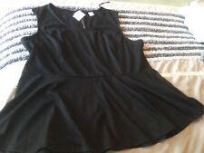 NEW size 26 PEPLUM TOP, sleeveless, Black, Zipper At Back,