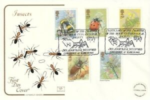12 MARCH 1985 BRITISH INSECTS COTSWOLD FIRST DAY COVER MEADOWBANK WINSFORD SHS