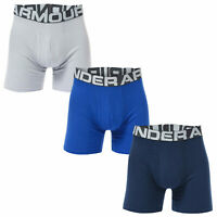 Mens Under Armour Charged Cotton 6 Inch Boxerjock 3 Pack In Blue- Charged