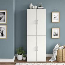 Tall Storage Cabinet Kitchen Pantry Cupboard Organizer 4 Doors Shelves. White