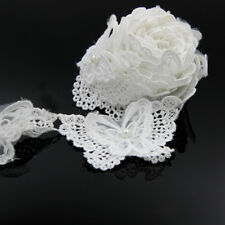 2 Yard White Butterfly Lace Edge Trim Ribbon Applique Sewing Wedding Crafts DIY