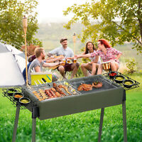 """30""""BBQ Barbecue Charcoal Grill Stainless Steel Foldable Backyard Cooker Portable"""