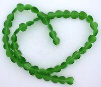 2 Strand 8mm Emerald Green Heart Fiber Optic Bead CLOSEOUT CLEARANCE fobsc28