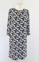 Chico's Black White Geometric Print Faux Leather Trim Shift Dress Chicos Sz 0