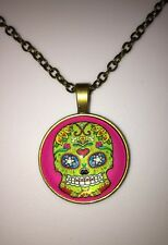 """Neon Green Sugar Skull Hot Pink Glass Cabochon Pendant Necklace 18"""" New"""