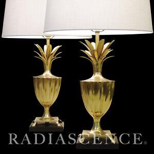 PAIR NEO CLASSIC MODERN BRASS PINEAPPLE URN HOLLYWOOD REGENCY LAMPS Chapman 1960