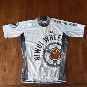 Giordana Mens XL Cycling Jersey White Gray NIWOT Wheel Works Italian Made