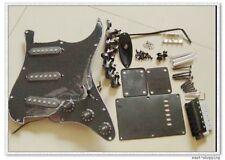Set Complete Loaded Black 3 ply Pickguard w/ SSS Pickups for Strat Guitar