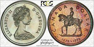 1973 CANADA R.C.M.P SILVER $1 DOLLAR BU PCGS SP65 NICE MULTI TONED