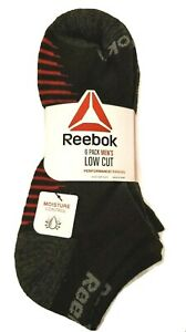 6-Pack Reebok Mens Performance Training Low Cut Socks Black /w Red Size 6-12.5