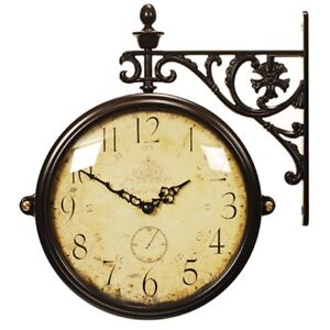 Antique Vintage Double Sided Wall Clock Home Decor Station Clock Gift -M195BRCRA