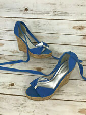 Wild Diva Womens 9 Wedge Platform Sandals Lace Up Blue Rhinestone Party Shoes