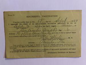 Sept 1924 Smallpox School Vaccine Vaccination Record Ariel PA Form 75 6 Year Old