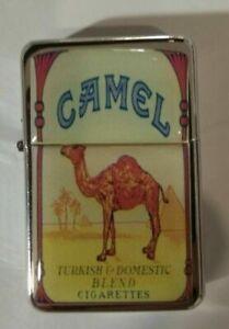 Briquet Camel Argent Rechargeable Huile Coupe-Vent Briquet Essence FlipTop