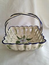 RCCL Vintage Hand Painted Braided Handled Basket Ceramic Flower Bowl Portugal