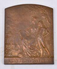 French bronze Medal: Auguste Maillard Contemplation France, Art Nouveau M7c