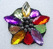 SB213 MULTICOLOR STAR Lucite Rhinestone Beaded Motif Jewelry Applique