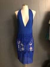 Paula Blue Multiway Bodysuit Dress With Lace Overlay