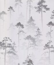 Shimmer Shiny Forest Woods Trees - Muriva Sherwood Silver Wallpaper 143503