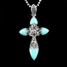 Handcrafted Solid 925 Sterling Silver Genuine TURQUOISE Filigree Cross Pendant