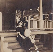 Old Vintage Antique Photograph Mom Sitting With Daughter With Huge Bow in Hair