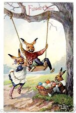 POSTCARD THIELE RABBITS ON SWING WITH EASTER EGGS T.S.N. SERIES 1450