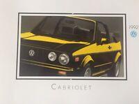 Original 1992 Volkswagen VW Cabriolet Convertible Deluxe Sales Brochure Catalog
