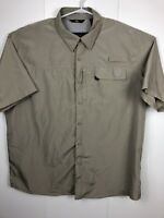 Wrangler Mens xl tan  Vented L/S Button Down Shirt Fishing Hiking Outdoor Gear