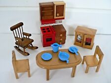 Vintage wooden doll house furniture toy bundle rocking chair kitchen table