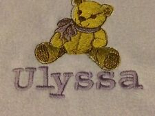 Personalized Embroidery Fleece Baby Blanket With Bear And Name