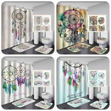 DreamCatcher Art Shower Curtain Bath Mat Toilet Cover Rugs Bathroom Set 1/3/4Pcs