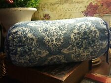 "Blue & White Floral Bolster Pillow-16""L- FREE SHIPPING-"