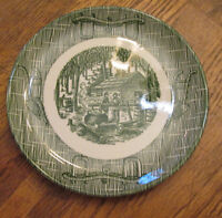 Scio Currier & Ives With Oxen Yoke & Plow Green Bread Plate