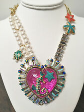 NWT Rare Betsey Johnson Under The Sea Heart Crystal Pearl Seahorse Necklace