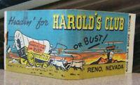 Vintage Matchbook Circa 1940 G9 Reno Nevada Harold's Club Western Humorous Guy
