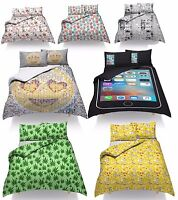 Duvet Quilt Cover Set With Pillow Cases  Designer Single Double King Size Funny