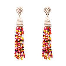 Boucles d'Oreilles Mini Perle Pompon Fait Main Artisanal Beige Multicolore AA21
