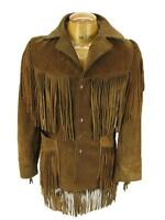 1b93e2e85ebc9 New Classic Mens Western Cowboy Suede Leather Coat With Fringe